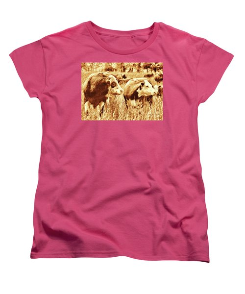 Women's T-Shirt (Standard Cut) featuring the photograph Simmental Bull 3 by Larry Campbell