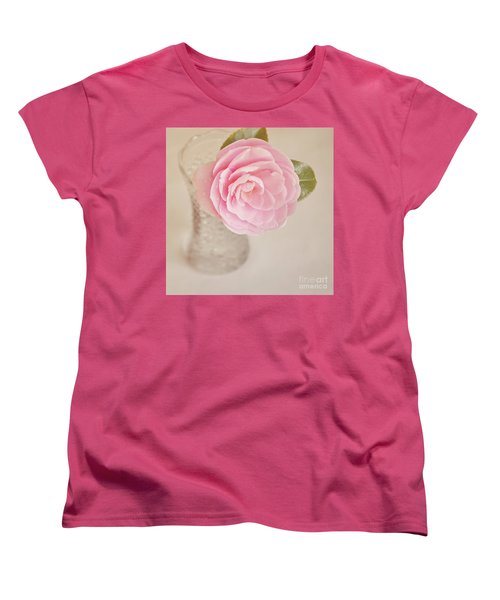 Women's T-Shirt (Standard Cut) featuring the photograph Single Pink Camelia Flower In Clear Vase by Lyn Randle