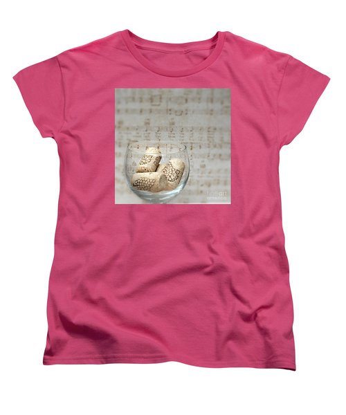 Sipping Wine While Listening To Music Women's T-Shirt (Standard Cut) by Sherry Hallemeier