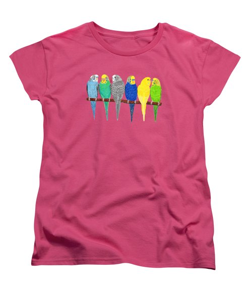 Six Parakeets Women's T-Shirt (Standard Cut) by Rita Palmer