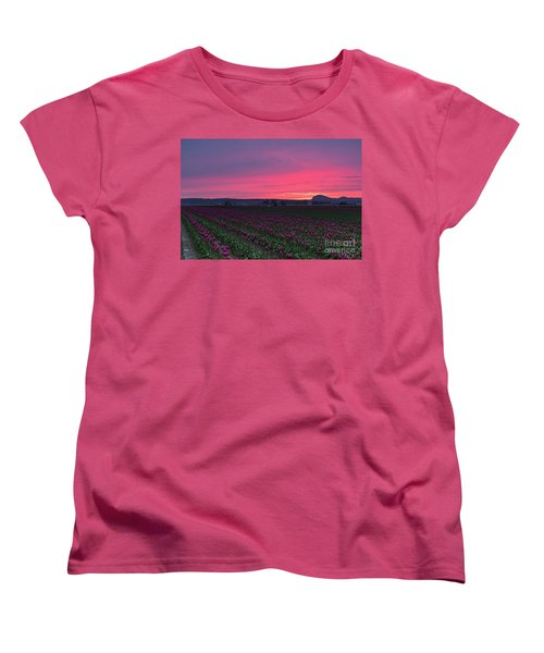 Women's T-Shirt (Standard Cut) featuring the photograph Skagit Valley Burning Skies by Mike Reid