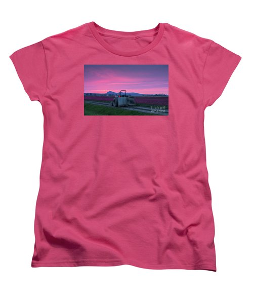 Women's T-Shirt (Standard Cut) featuring the photograph Skagit Valley Dusk Calm by Mike Reid