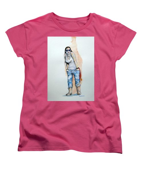 Women's T-Shirt (Standard Cut) featuring the painting Sketch For Meh by Ray Agius
