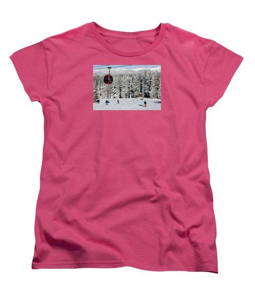Skiers Limber Up Under A Gondola Near The Summit Of Aspen Mountain Women's T-Shirt (Standard Cut) by Carol M Highsmith