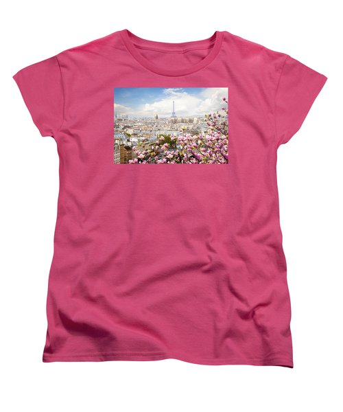skyline of Paris with eiffel tower Women's T-Shirt (Standard Cut) by Anastasy Yarmolovich
