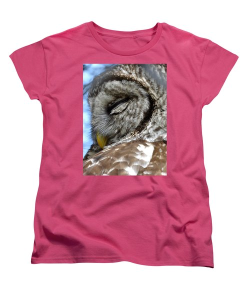Women's T-Shirt (Standard Cut) featuring the photograph Sleeping Barred Owl by Rebecca Overton