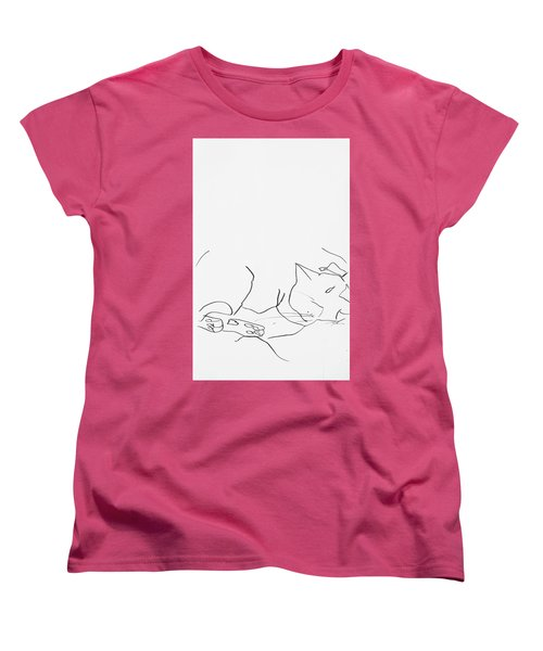 Sleeping Cat II Women's T-Shirt (Standard Cut) by Leela Payne