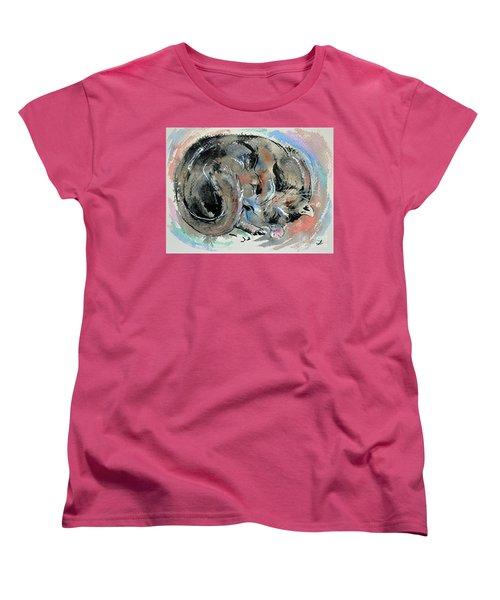 Women's T-Shirt (Standard Cut) featuring the painting Sleeping Tortoiseshell Cat by Zaira Dzhaubaeva