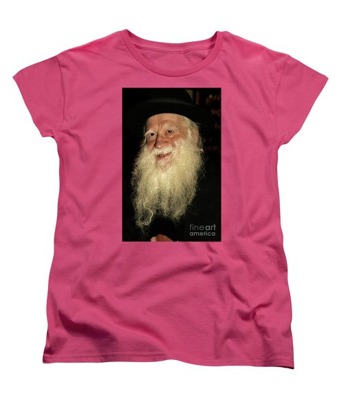 Women's T-Shirt (Standard Cut) featuring the photograph Smiling Picture Of Rabbi Yehuda Zev Segal by Doc Braham