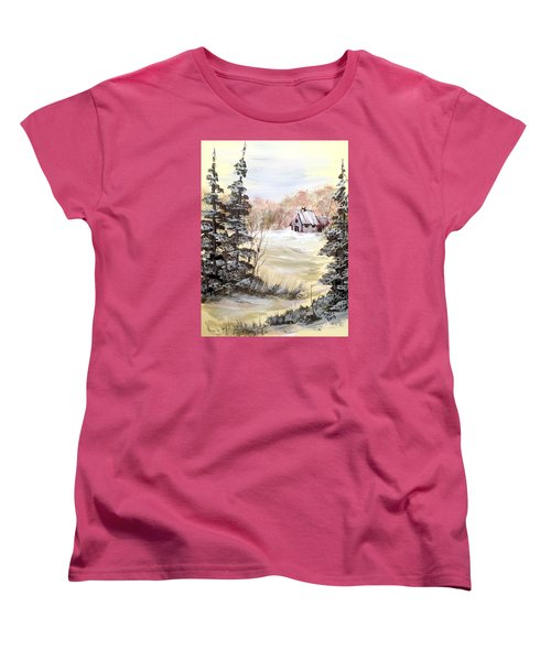 Women's T-Shirt (Standard Cut) featuring the painting Snow Everywhere by Dorothy Maier