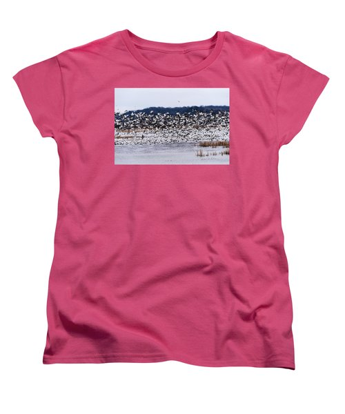 Snow Geese At Squaw Creek Women's T-Shirt (Standard Cut) by Edward Peterson