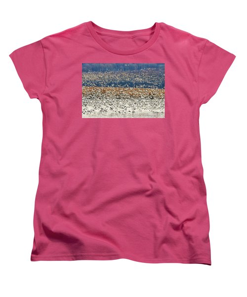 Women's T-Shirt (Standard Cut) featuring the photograph Snow Geese At Willow Point by Lois Bryan