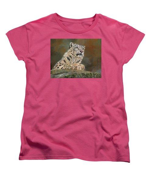 Snow Leopard On Rock Women's T-Shirt (Standard Cut) by David Stribbling