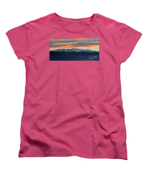 Snowcapped Miapor Range Under Golden Clouds, Armenia Women's T-Shirt (Standard Cut) by Gurgen Bakhshetsyan