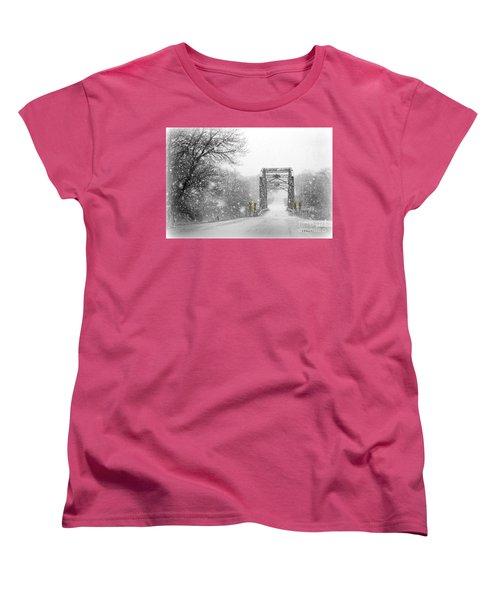 Snowy Day And One Lane Bridge Women's T-Shirt (Standard Cut) by Kathy M Krause