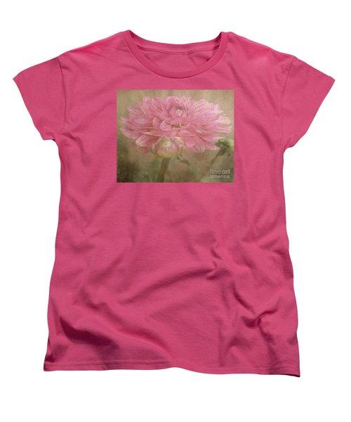 Soft Graceful Pink Painted Dahlia Women's T-Shirt (Standard Cut) by Judy Palkimas