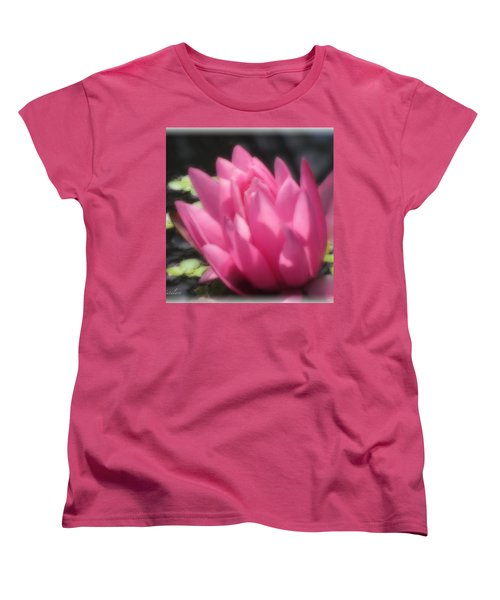 Women's T-Shirt (Standard Cut) featuring the photograph Soft Touch Red Lotus by Debra     Vatalaro