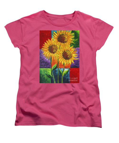 Women's T-Shirt (Standard Cut) featuring the painting Sonflowers I by Holly Carmichael