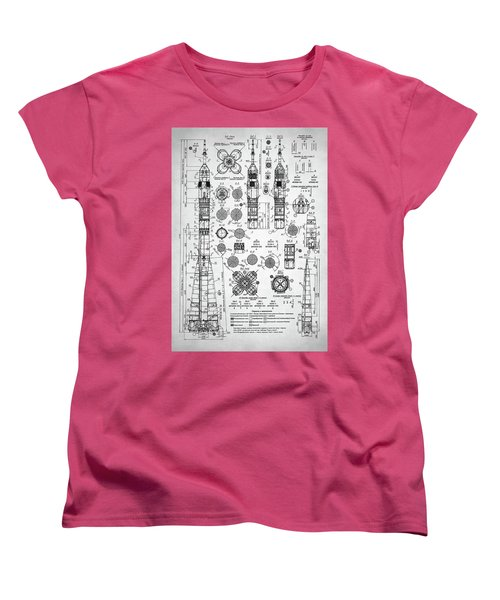 Soviet Rocket Schematics Women's T-Shirt (Standard Cut) by Taylan Apukovska
