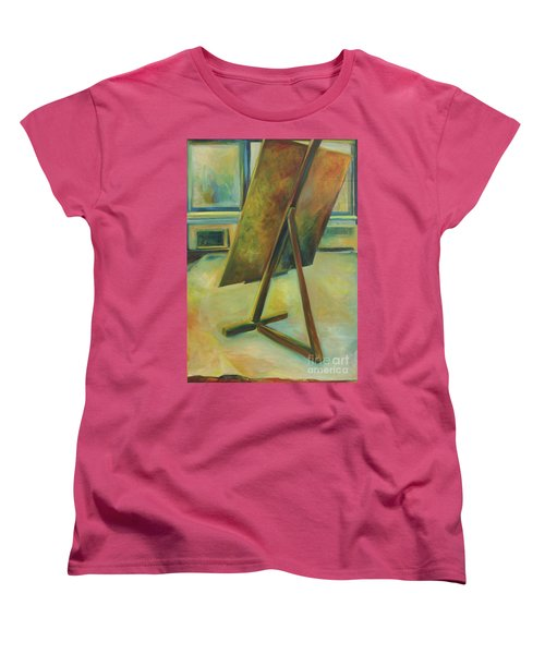 Women's T-Shirt (Standard Cut) featuring the painting Space Filled And Empty by Daun Soden-Greene