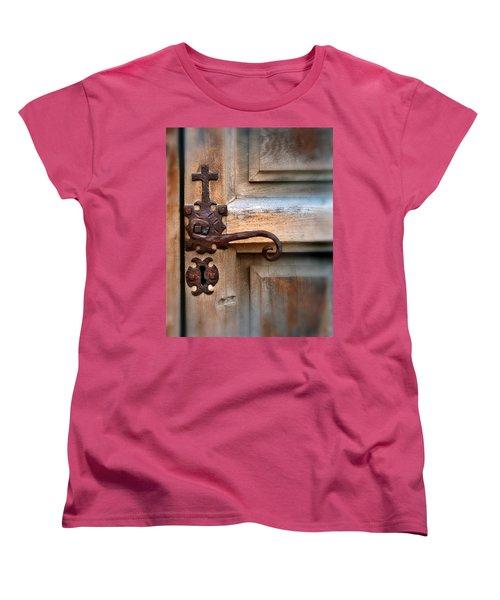 Spanish Mission Door Handle Women's T-Shirt (Standard Cut) by Jill Battaglia