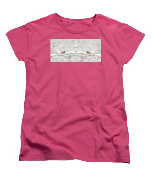Sparrow In The Cherry Tree Women's T-Shirt (Standard Cut) by Lila Fisher-Wenzel