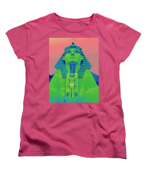 Sphinx And Pink Sky Women's T-Shirt (Standard Cut) by Karen J Shine