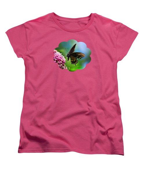 Spicebush Swallowtail Butterfly On Pink Flower Women's T-Shirt (Standard Cut) by Christina Rollo