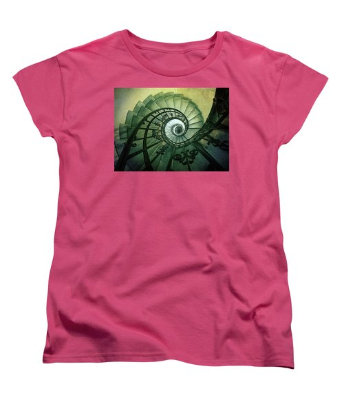 Women's T-Shirt (Standard Cut) featuring the photograph Spiral Stairs In Green Tones by Jaroslaw Blaminsky