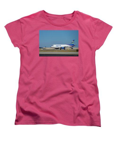 Women's T-Shirt (Standard Cut) featuring the photograph Spirit Airlines Airbus A320 N608nk Airplane Art by Reid Callaway