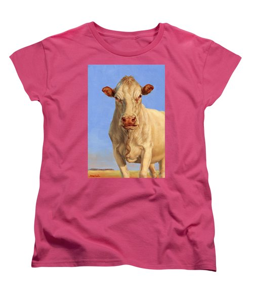Women's T-Shirt (Standard Cut) featuring the painting Spooky Cow by Margaret Stockdale