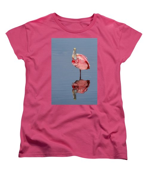 Spoonbill And Reflection Women's T-Shirt (Standard Cut) by Dorothy Cunningham