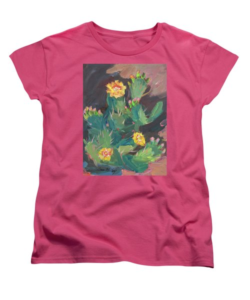 Women's T-Shirt (Standard Cut) featuring the painting Spring And Prickly Burst Cactus by Diane McClary