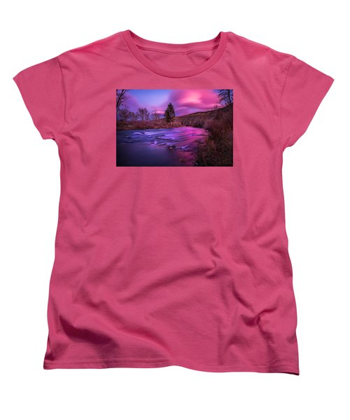 Women's T-Shirt (Standard Cut) featuring the photograph Spring Sunset Along The Truckee River Reno Nevada by Scott McGuire