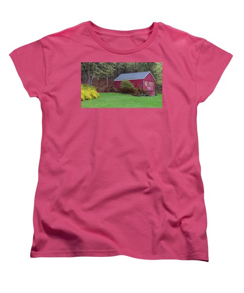 Women's T-Shirt (Standard Cut) featuring the photograph Spring Tobacco Barn by Bill Wakeley