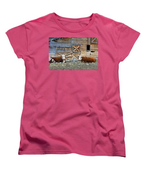Squires Herefords By The Rustic Barn Women's T-Shirt (Standard Cut) by Karon Melillo DeVega