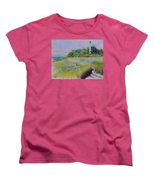 St. Marks Lighthouse Beachfront Women's T-Shirt (Standard Cut) by Warren Thompson