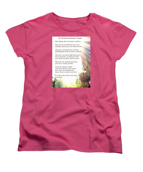 St Therese Of Lisieux Prayer And True Light Lower Emerald Pools Zion Women's T-Shirt (Standard Cut) by Heather Kirk