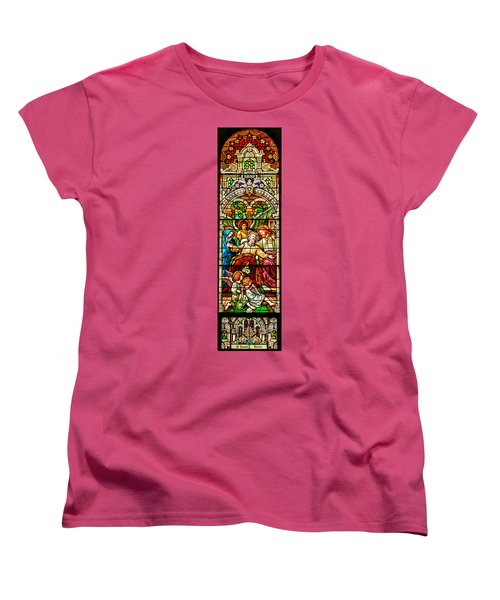 Women's T-Shirt (Standard Cut) featuring the photograph Stained Glass Scene 1 - 4 by Adam Jewell