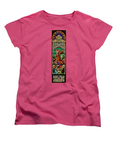 Women's T-Shirt (Standard Cut) featuring the photograph Stained Glass Scene 6 Full Size by Adam Jewell