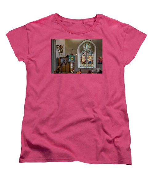 Women's T-Shirt (Standard Cut) featuring the photograph Stained Glass Uk by Adrian Evans