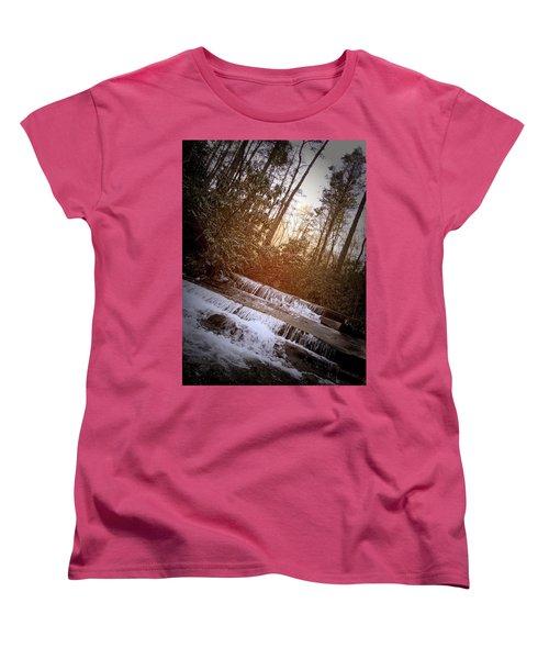 Stair Step Falls Table Rock South Carolina Women's T-Shirt (Standard Cut) by Kelly Hazel