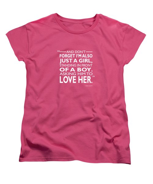 Standing In Front Of A Boy Women's T-Shirt (Standard Cut) by Mark Rogan