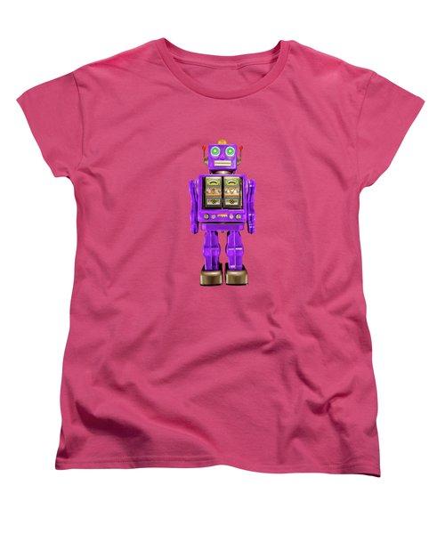 Star Strider Robot Purple On Black Women's T-Shirt (Standard Cut) by YoPedro