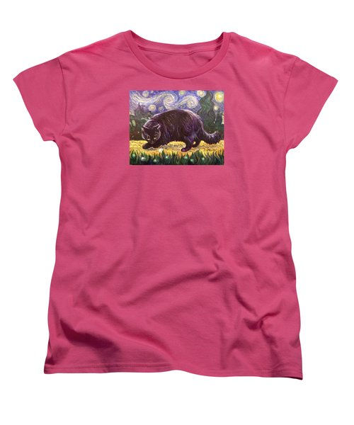 Women's T-Shirt (Standard Cut) featuring the painting Starry Night Stroll by Laura Aceto
