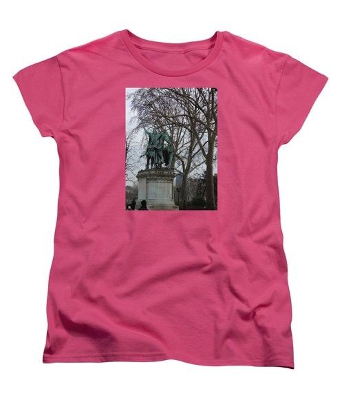 Statue At Notre Dame Women's T-Shirt (Standard Cut) by Roxy Rich