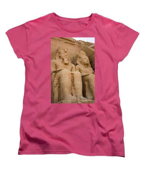 Statues At Abu Simbel Women's T-Shirt (Standard Cut) by Darcy Michaelchuk