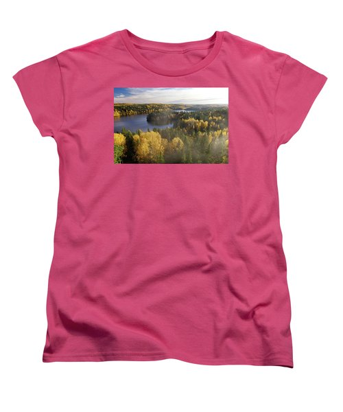 Steamy Forest Women's T-Shirt (Standard Cut) by Teemu Tretjakov