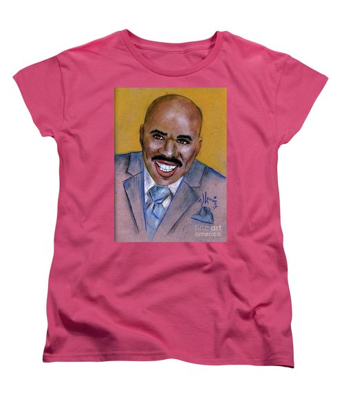 Women's T-Shirt (Standard Cut) featuring the drawing Steve Harvey by P J Lewis