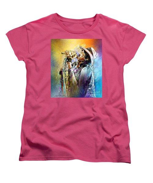 Steven Tyler 01  Aerosmith Women's T-Shirt (Standard Cut) by Miki De Goodaboom